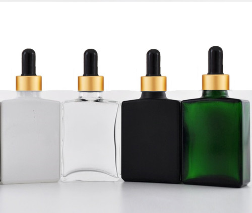 1 oz Clear SQUARE Glass Bottle w/ 18-415 Black-Gold Calibrated Dropper- Case of 110