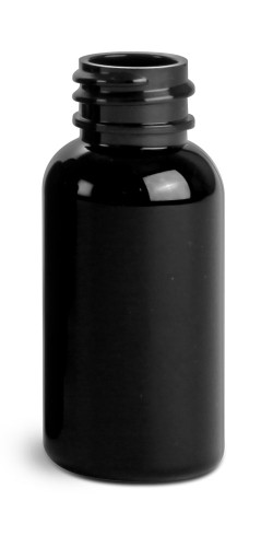 1 oz Black PET Round Bottles (Bulk), Caps NOT included