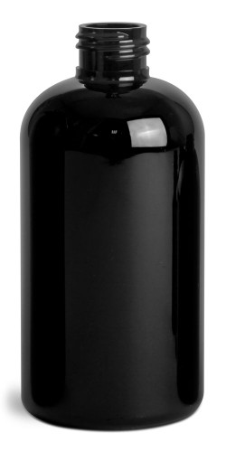 8 oz Black PET Round Bottles (Bulk), Caps NOT included - Case of 400