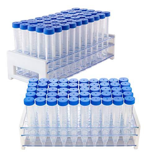 100Pcs-15ml Plastic Centrifuge Tubes,Leak-Proof Sterile PP Conical Centrifuge Tube, Non- Pyrogenic, DN/RNase Free   2 Test Tube Racks