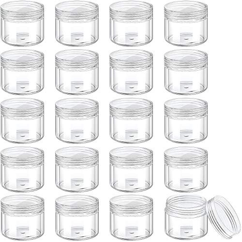 20 Pieces Round Pot Jars Plastic Cosmetic Containers Set with Lid for Liquid Creams Sample, 20 ml/ 0.7 oz (Clear Lid)