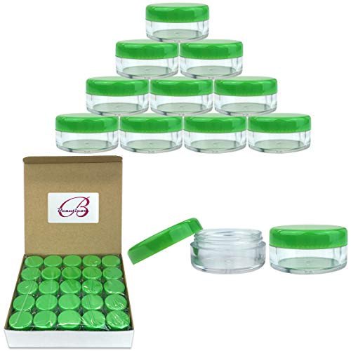 50 New Empty 5 Grams Acrylic Clear Round Jars - BPA Free Containers for Cosmetic, Lotion, Cream, Makeup, Bead, Eye shadow, Rhinestone, Samples, Pot, Small Accessories 5g/5ml (GREEN LID)