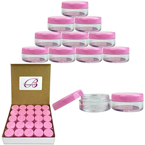 50 New Empty 5 Grams Acrylic Clear Round Jars - BPA Free Containers for Cosmetic, Lotion, Cream, Makeup, Bead, Eye shadow, Rhinestone, Samples, Pot, Small Accessories 5g/5ml (PINK LID)