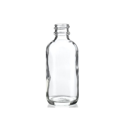2 oz CLEAR Boston Round Glass Bottle with 20-400 neck finish