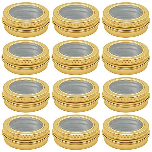 2 oz Aluminum Tin Jar 60 ml Refillable Containers Clear Top Screw Lid Round Tin Container Bottle for Candle, Lip Balm, Salve, Eye Shadow, Powder, 12 Pcs Gold Color.