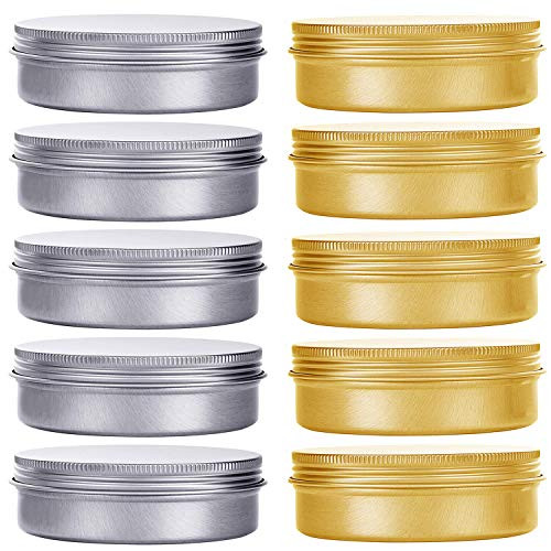 HNXAZG 30 mL Aluminum Tin Cans 1 oz Metal Empty Tins with Screw Top Lids Round for Store Spices, Cosmetic, Lip Balm, Candles, 10 Pack.