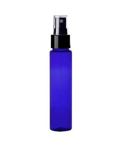 1 Oz (30ml) Cobalt Blue PET Cylinder Bottles with Black Fine Mist Sprayer