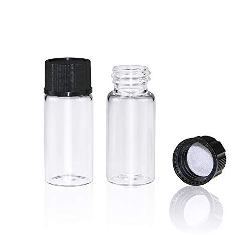 Clear Glass Sample Vial, Liquid Sampling Sample Glass Bottle, 10ml(0.3OZ) Capacity, 22mm.I.D. 52mm, 18-400 Thread Black Closed Top Cap,PE Liner, Pack of 100