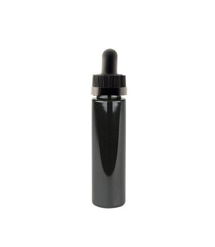 1 Oz (30ml) Black PET Cylinder Bottles with Black Child Resistant Dropper