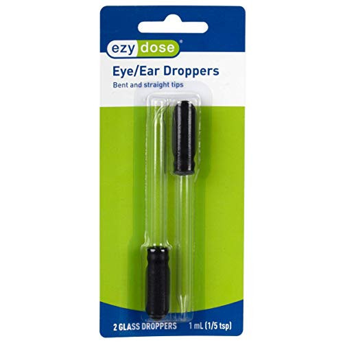 Ear and Eye Medicine Dropper | For Liquid & Essential Oils | 1mL Capacity | Glass | Straight and Bent Tip