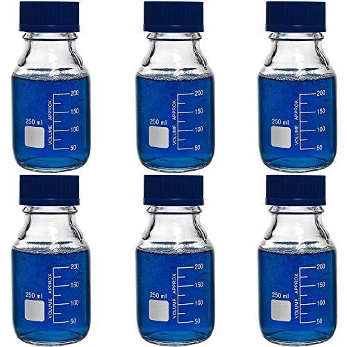 250ml Glass Round Media Storage Bottles with GL45 Screw Cap, Borosilicate Glass, Karter Scientific 251L5 (Case of 6)