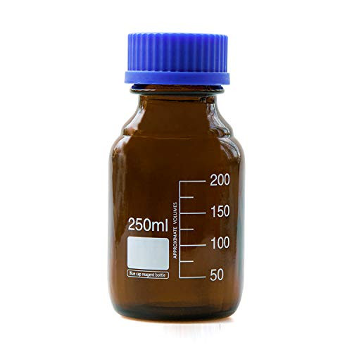Moonetto 250ml Amber Borosilicate Glass Graduated Round Media/Storage Bottle With GL45 Blue Polypropylene Screw Cap (10 Pack)
