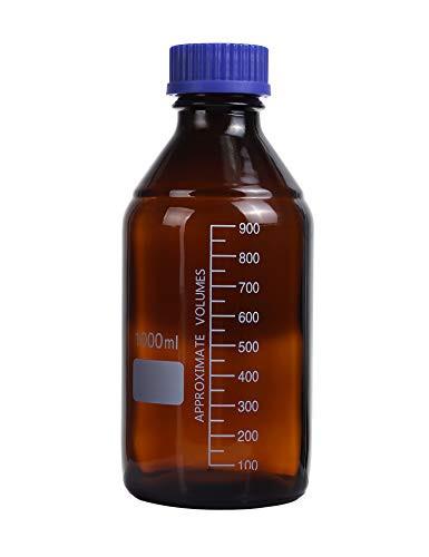 Moonetto 1000ml Amber Borosilicate Glass Graduated Round Lab Media/Storage Bottle With GL45 Blue Polypropylene Screw Cap (4 Pack)