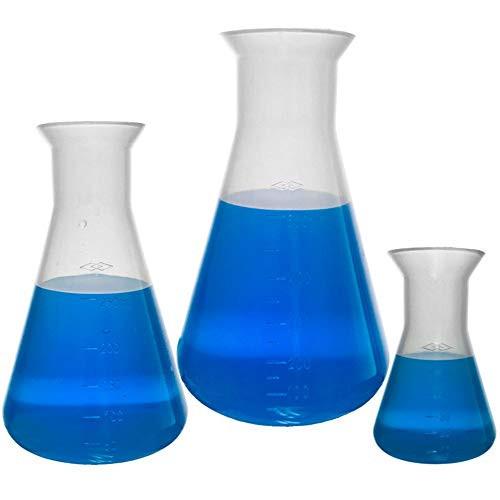 Plastic Erlenmeyer Flask Set - 3 Sizes - 50, 250, and 500ml, Karter Scientific 230C9