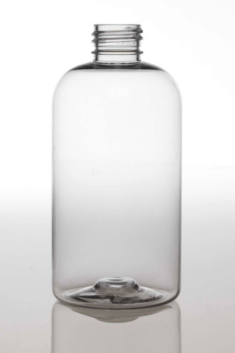 4 oz Clear PET boston round bottle with 24-410 neck finish