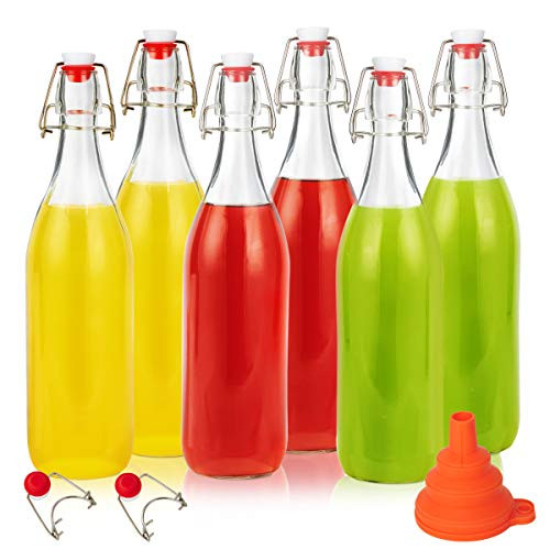Swing Top Glass Bottles 16oz, Eternal Moment Flip Top Airtight Brewing Bottle(6 Pack) for Kombucha, Kefir, Vanilla Extract, Beer, Oil,Vinegarand Homemade Juices