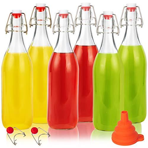 Swing Top Glass Bottles 32oz, Eternal Moment Flip Top Airtight Brewing Bottle(6 Pack) for Kombucha, Kefir, Vanilla Extract, Beer, Oil,Vinegarand Homemade Juices - Free 2 Stoppers,1 Funnel
