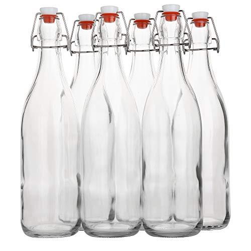 Flip Top Glass Bottle [1 Liter / 33 fl. oz.] [Pack of 6] Swing Top Brewing Bottle with Stopper for Beverages, Oil, Vinegar, Kombucha, Beer, Water, Soda, Kefir Airtight Lid & Leak Proof Cap Clear