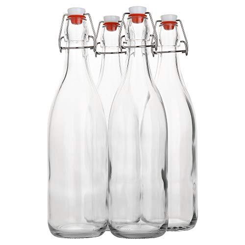 Flip Top Glass Bottle [1 Liter / 33 fl. oz.] [Pack of 4] Swing Top Brewing Bottle with Stopper for Beverages, Oil, Vinegar, Kombucha, Beer, Water, Soda, Kefir Airtight Lid & Leak Proof Cap Clear