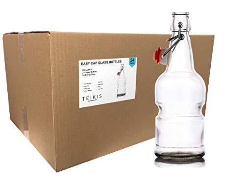 24-Pack 16oz Kombucha/Beer Glass Bottles Clear Leak Proof - Non Slip Style