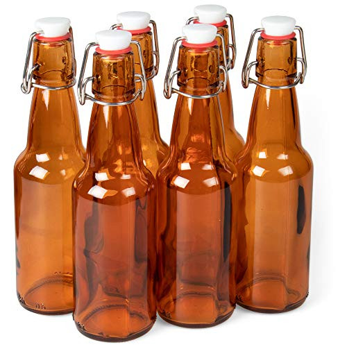 11 oz. Amber Glass Grolsch Beer Bottles Airtight Seal with Swing Top/Flip Top Stoppers - Supplies for Home Brewing & Fermenting of Alcohol, Kombucha Tea, Wine, Homemade Soda (6-pack)