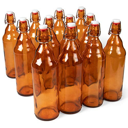 33 oz. Amber Glass Grolsch Beer Bottles, Quart Size Airtight Seal with Swing Top/Flip Top - Supplies for Home Brewing & Fermenting of Alcohol, Kombucha Tea, Wine, Homemade Soda (12-pack)