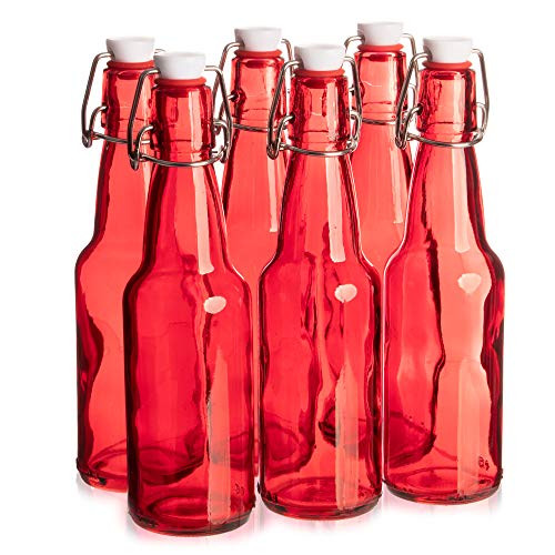 11 oz. Red Glass Grolsch Beer Bottle, Quart Size - Airtight Seal with Swing Top/Flip Top - Supplies for Home Brewing & Fermenting of Alcohol, Kombucha Tea, Wine, Homemade Soda (6-pack)