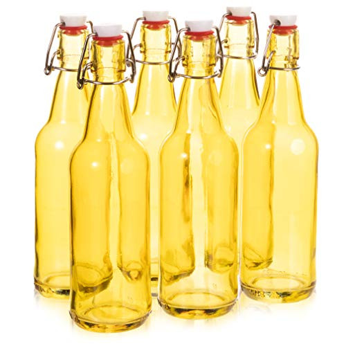 16.9 oz. Yellow Glass Grolsch Beer Bottle, Quart Size - Airtight Seal with Swing Top/Flip Top - Supplies for Home Brewing & Fermenting of Alcohol, Kombucha Tea, Wine, Homemade Soda (6-pack)