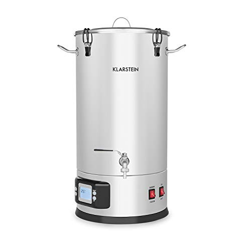 Beer Brewing Device, Mash Tun, 5-Piece Set, 1000 and 1600 Watts Power, LCD Display and Touch Control Panel, Temperature, Stainless Steel, 30 Liter / 7.9 Gallon