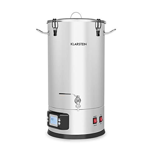 Beer Brewing Device, Mash Tun, 5-Piece Set, 1000 and 1600 Watts Power, LCD Display and Touch Control Panel, Temperature, Stainless Steel, 35 Litres / 9.2 gallons