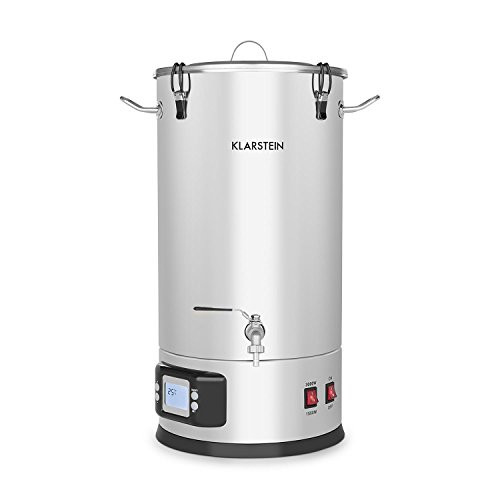Beer Brewing Device, Mash Tun, 5-Piece Set, 1000 and 1600 Watts Power, LCD Display and Touch Control Panel, Temperature, Stainless Steel, 25 Liter / 6.6 Gallon