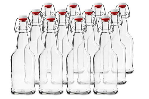 Glass Bottles with Swing Top Lids, Clear Glass Bottles for Home Brewing, Kombucha, Beer, and Other Liquor,16 Ounce, 12 Pack by Chef's Star