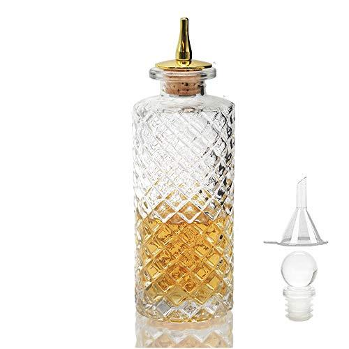Bitters Bottle - Diamond Bitter Bottle for Cocktail, 5.8oz / 170ml, Glass Dashes Bottle with Zinc Alloy Dasher Top - NKJP0001