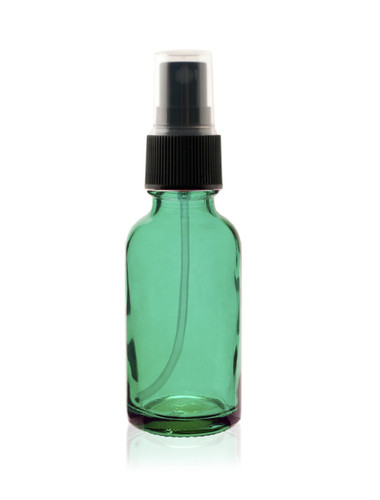 1 Oz Specialty Caribbean Green Boston Round w/ Black Fine Mist Sprayer