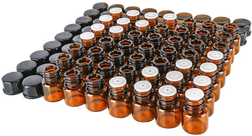 50 pack 1 ml 1/4 Dram Mini Amber Glass Essential Oils Sample Bottles with Black Caps for Essential Oils