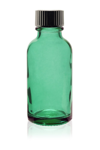 1 Oz Specialty Caribbean Green Boston Round w/ Black Poly Seal Cone Cap