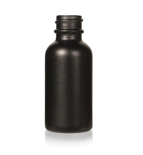 1 Oz. Matte Black Glass Bottle, 20/400 with neck finish