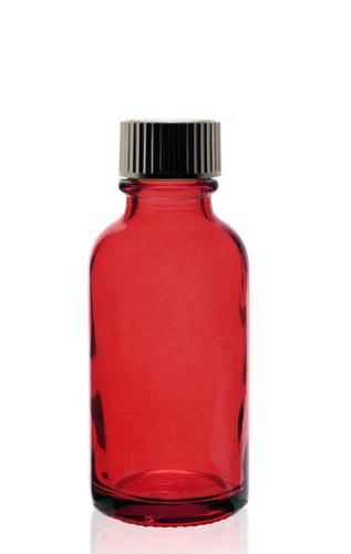 1 Oz Specialty Translucent Red Boston Round w/ Black Poly Seal Cone Cap