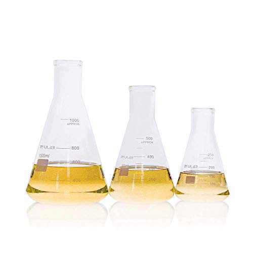 ULAB Scientific Narrow-Mouth Glass Erlenmeyer Flask Set, 3 Sizes 250ml 500ml 1000ml, 3.3 Borosilicate with Printed Graduation, UEF1022