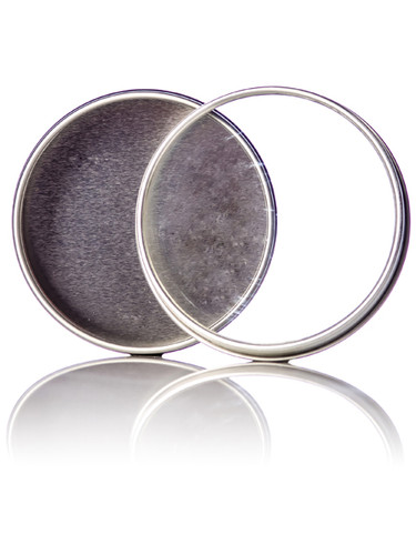 2 oz silver steel flat tin with clear slip cover lid