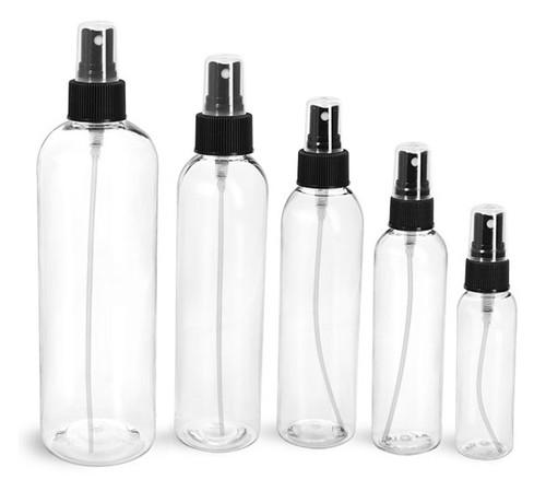 12 oz Clear PET Cosmo Plastic Bottle w/ Black Atomizer