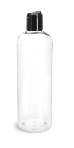 16 oz Clear PET Cosmo Plastic Bottle w/ Black Disc Cap
