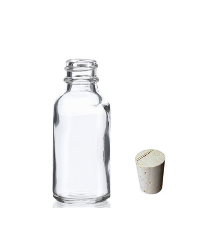 1 oz (30ml) CLEAR Boston Round Glass Bottle with Cork