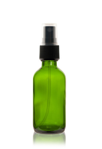 2 oz Green Boston Round Glass Bottle w/ Black Fine Mist Sprayer