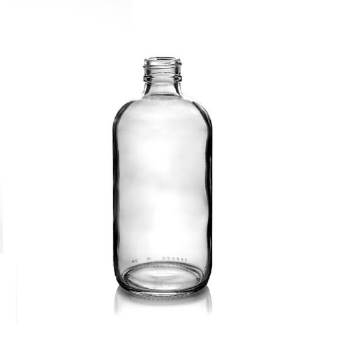 8 oz CLEAR glass bottle with 28-400 neck finish