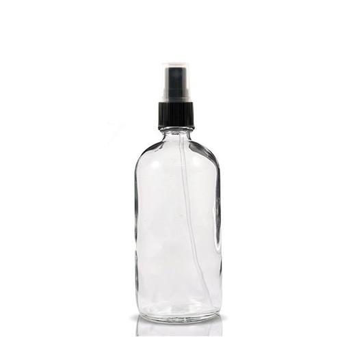 8 oz CLEAR glass boston round bottle with 24-410 neck finish with Black Fine Mist Sprayer
