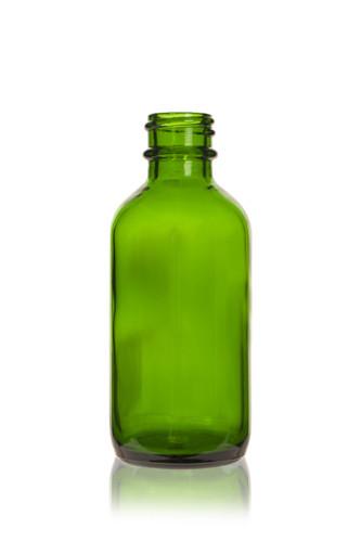 2 oz Green Boston Round Glass Bottle