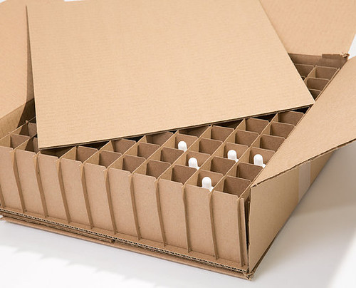 Corrugated Box with 100 Dividers (Fits 100 - 1 oz  Bottles) - set of 40