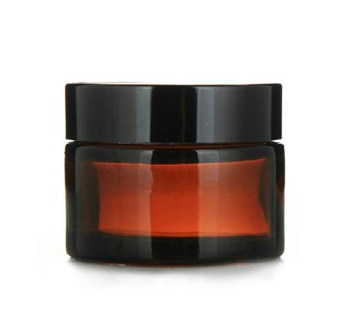 Glass 2 oz Amber Cream Jar w/ Black Lid - pack of 12