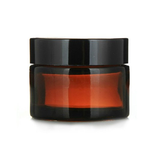 Glass 1 oz Amber Cream Jar w/ Black Lid - pack of 12
